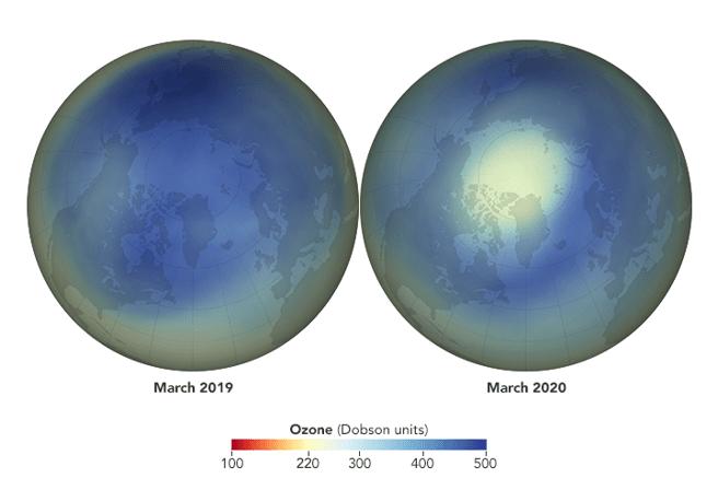 Diferencia de los niveles de ozono en el Ártico en marzo de 2019 y en el mismo mes de 2020.