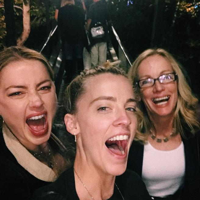 Amber Heard along with his sister and his mother in a picture shared on Instagram in march