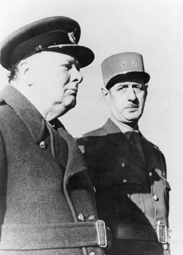 Churchill y el general De Gaulle en Marrakech (1944).
