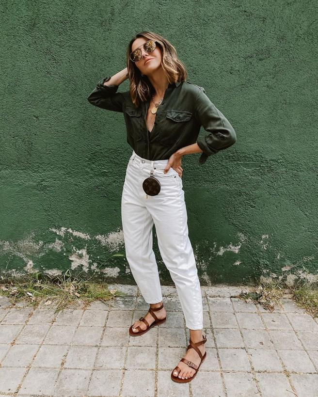 Alexandra Pereira with styling perfect casual for spring
