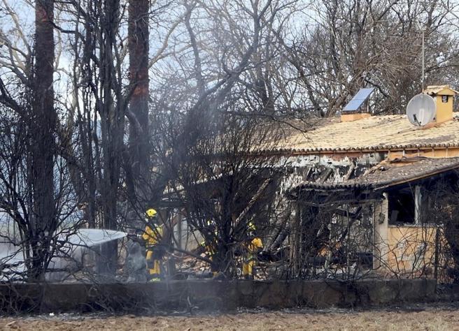 Efectivos del cuerpo de bomberos trabajan en las labores de extinción del incendio declarado en el parque natural de S'Albufera de Mallorca