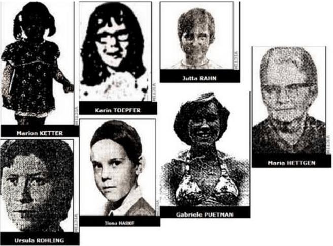 Algunas de las víctimas de Joachim Kroll, el 'caníbal de Ruhr'