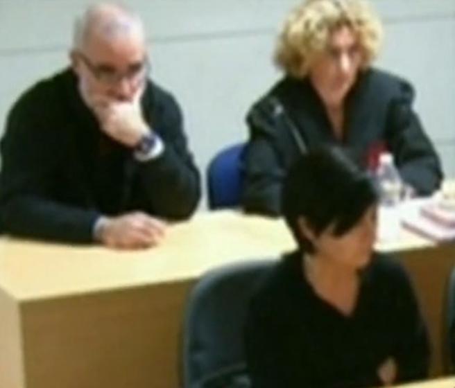 Rosario Porto y Alfonso Basterra durante el juicio de Asunta en Santiago de Compostela, en 2015