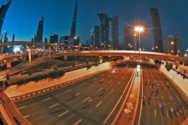 Image of Sheikh Zayed avenue during the 'Dubai Ride 2020'.