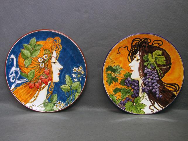 Piatti in ceramica in stile Liberty