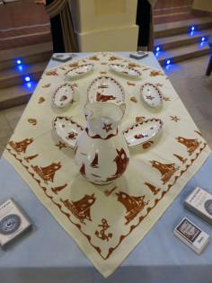 Servizio per pesce in ceramica color ruggine