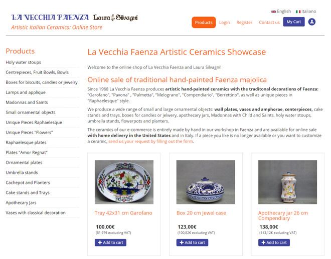 Faenza artistic pottery (majolica) shop