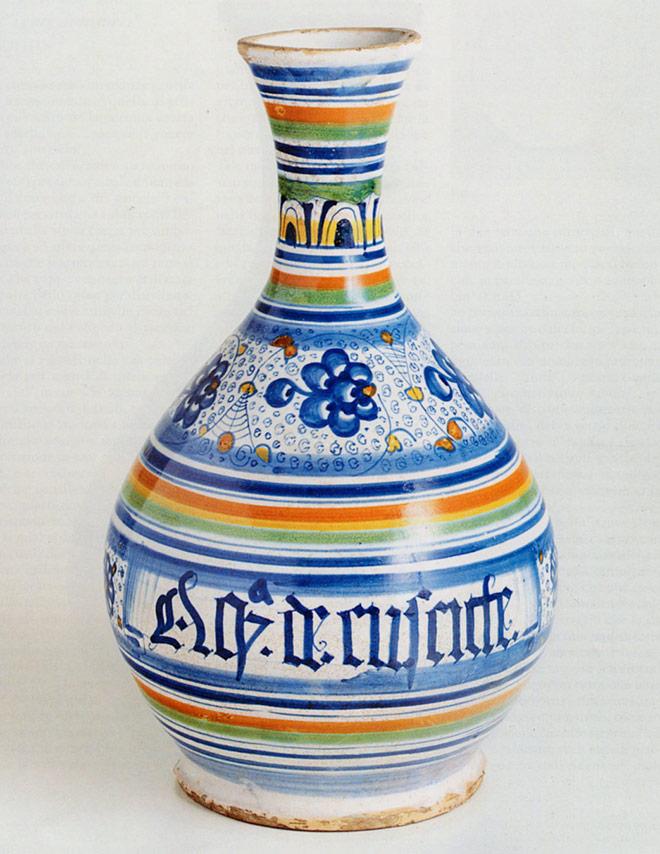 fiasca in maiolica di Faenza decorata a Palmetta Persiana