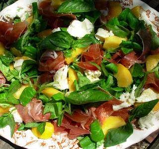 Salad Days ~ Peach and Serrano Ham Salad with Mozzarella and Basil