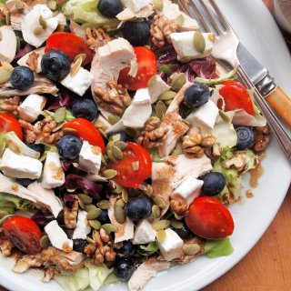 Olympic Power Salad with Goat's Cheese, Fruit and Nuts