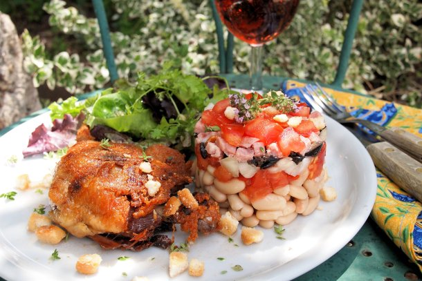 Cassoulet salade d'été avec confit d'canard (Bean & Duck Summer Salad)