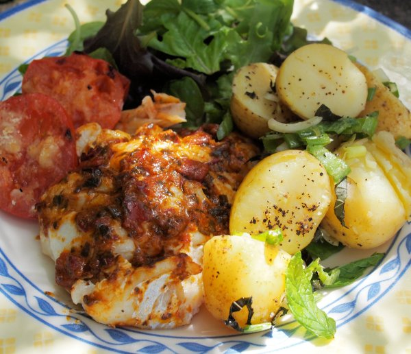 Roasted Red Pepper & Tomato Tapenade Topped BBQ Cod with Hot New Potato Salad with Mint & Spring Onions