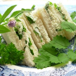 Herb Garden Tea Sandwiches with Cream Cheese