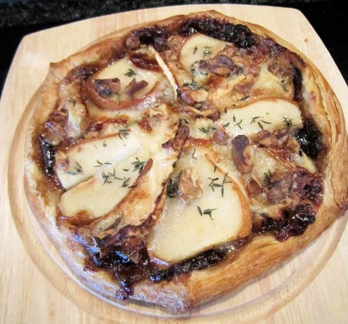 Pear, Walnut and Goat's Cheese Tart with Red Onion Marmalade and Thyme
