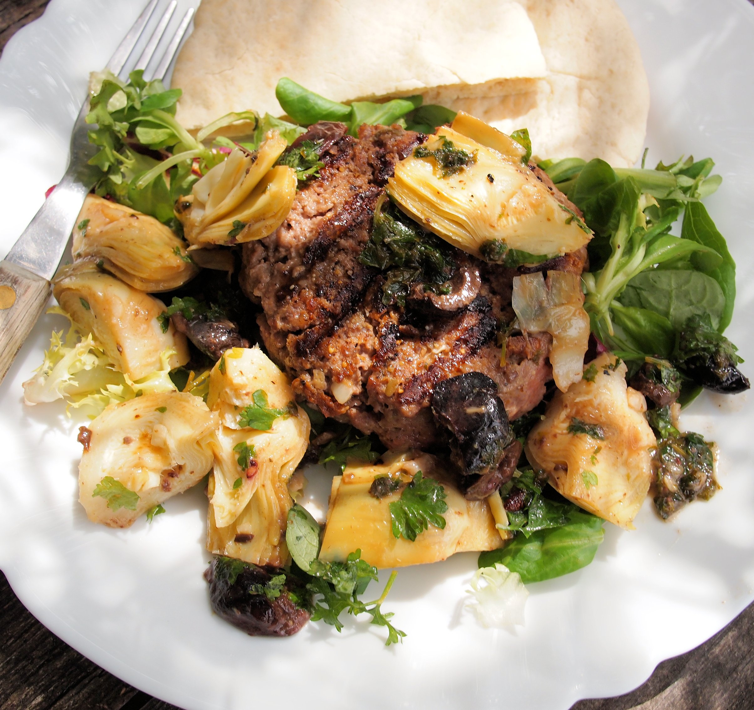 A Special 5 2 Diet Recipe For Fast Days Luxury Steak Burger With Artichokes And Olives