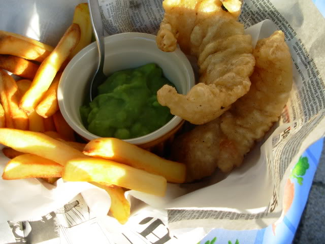 Fish and Chips in a Basket with Mushy Peas