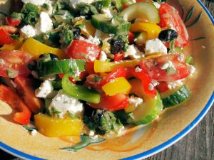 Greek Lunch Box Salad with Feta Cheese and Mint Dressing