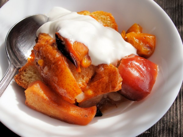 Baked Orchard Fruits with Vanilla and Honey - served with stale cake and cream