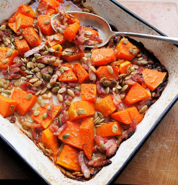 Roast Pumpkin Salad with Pancetta, Grana Padano and Pumpkin Seeds