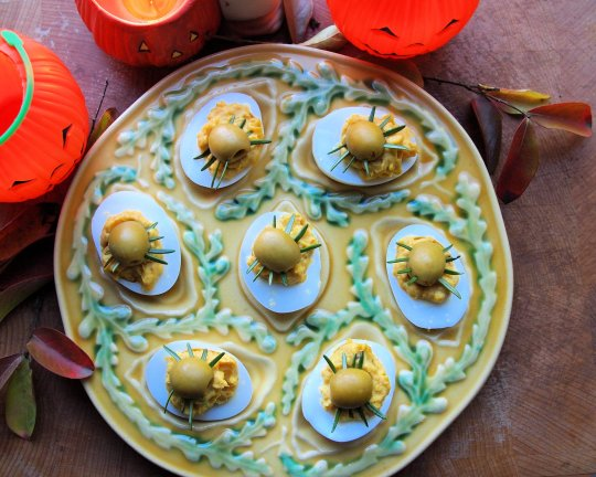 Creepy Crawly Curried Devilled Eggs