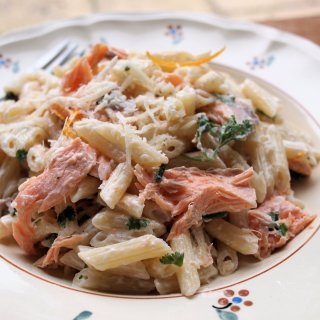 Family Fish and Pasta on Friday: Creamy Salmon and Orange Pasta with Mixed Herbs Recipe