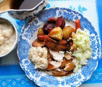Garlic Roast Chicken with Root Vegetables