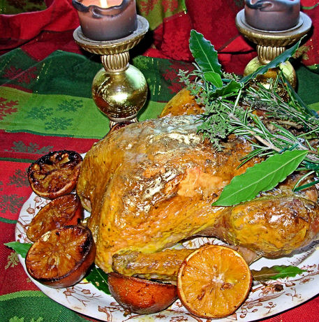 Gilded Saffron & Butter Basted Turkey with Herb Garland