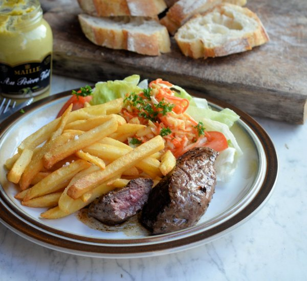 Peppered Steak and Chips for St George's Day and Great British Beef Week
