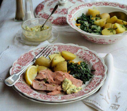Thrifty & Organic Meal Planner: Salmon with Herb Mayonnaise, Spring Greens & Orange Cream Cheese Cake Recipes