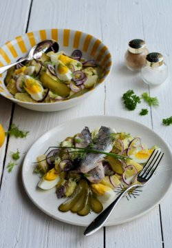"""""""Scandi"""" Friday with Hot Pickled Herrings and a Dill Pickle Potato Salad Recipe"""