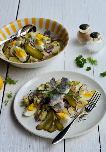 """Scandi"" Friday with Hot Pickled Herrings and a Dill Pickle Potato Salad Recipe"