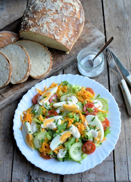 Old Fashioned Roses and an English Garden Salad with Cheese and Eggs