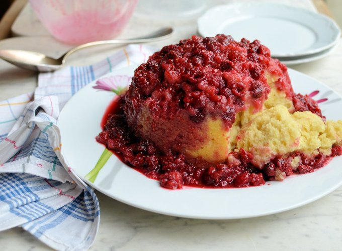 Raspberry Steamed Sponge Pudding