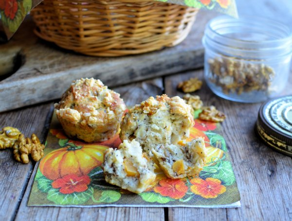 Beat the Winter Blues: Pumpkin, Walnut & Poppy Seed Muffins with Cheddar Cheese