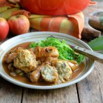 Sausage & Apple Casserole with Herb Crusted Dumplings