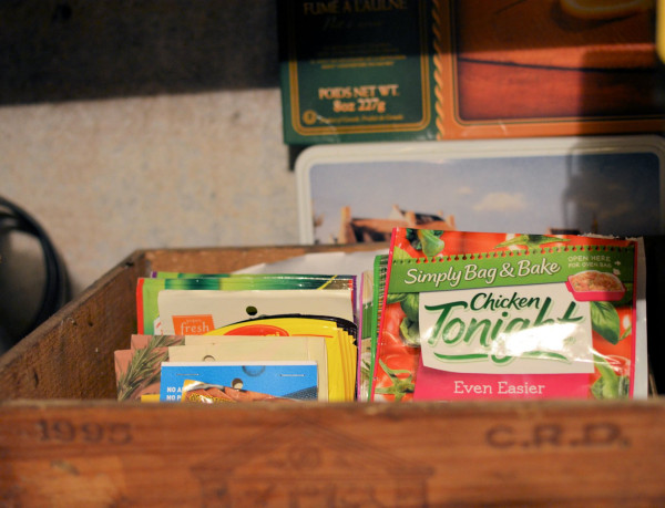 Wine box full of sauce mixes and soups