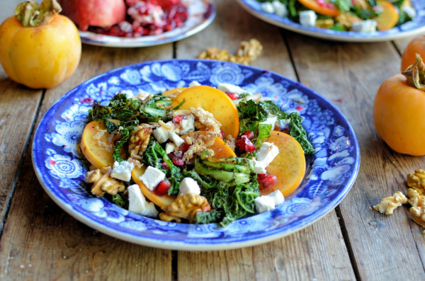 Frazzled Kale and Frisee salad with pomegranate, persimmon and walnuts 3
