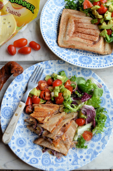 Spicy Toasted Sandwiches for Lunch! Mexican Cheese, Chorizo and Avocado Toastie Recipe