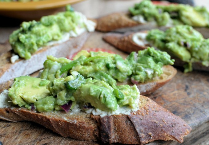 South African style Guacamole and Cream Cheese Tartines