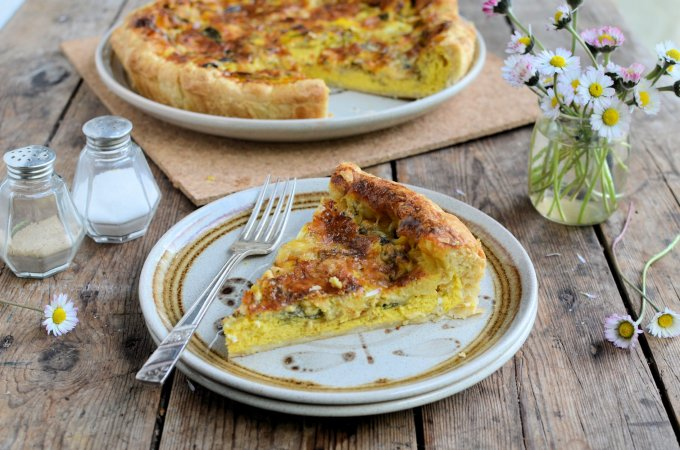 Blue Wensleydale and Wild Garlic Tart