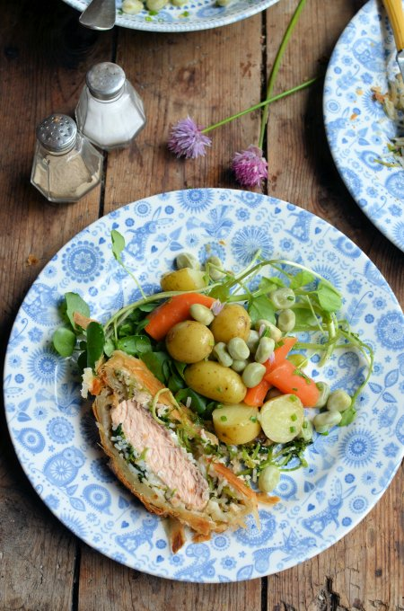 Salmon en Croûte with Summer Vegetable Medley and Chive Butter