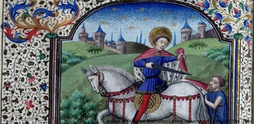 International Medieval Congress Image of St Martin, used as the IMC logo since 1994, from University of Leeds, Brotherton Library, Brotherton Collection MS 2, fol. 245v