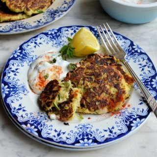 Gluten-Free Veggie Snack: Courgette & Feta Cheese Fritters with Chilli Mint Yogurt Dip