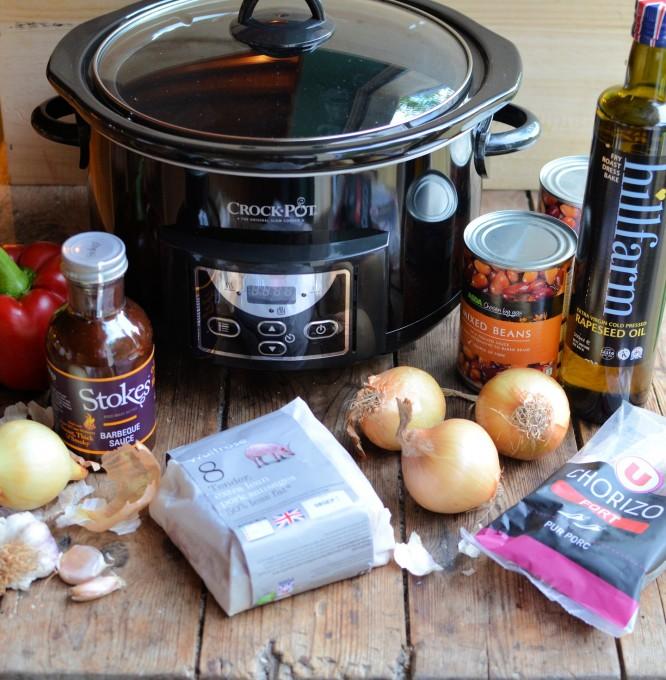 Bonfire Bangers and Barbecue Bean Casserole for Crocktober