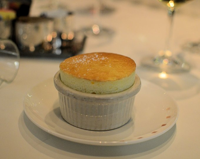 Grand Marnier Soufflé which was served with a Crème Anglaise á la Gousse Tahitienne