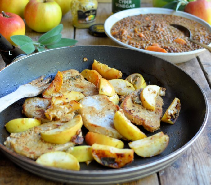 Pork Steaks with Apples, Sage and Cider Apple Vinegar
