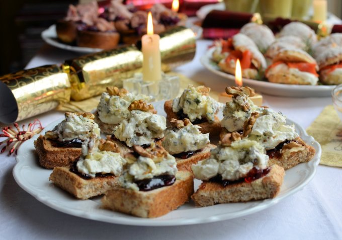 Stilton and Walnut Open Danish Sandwich Toasts with Cranberry Relish