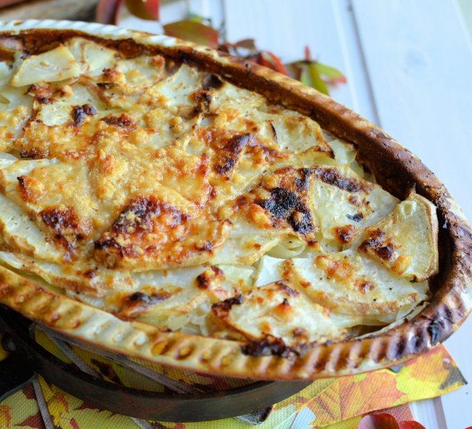 Celeriac, Cheese and Potato Gratin