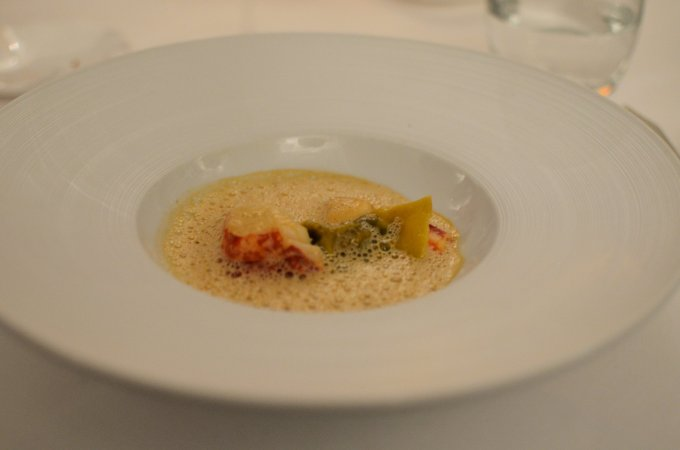 langoustine and ravioli foam