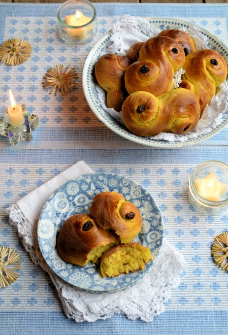 Lussekatter - St Lucia Saffron and Cardamom Sweet Buns for St Lucy's Day